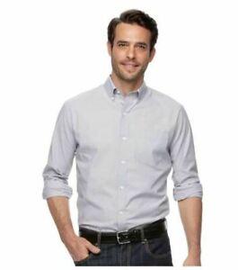 Croft and Barrow Men's Shirt Gray 2XL Classic Fit New