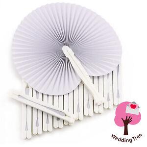 WeddingTree 60 x Taschen-Hand-Fächer - Papier weiß faltbar