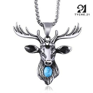 Men's Silver Deer Head Pendant Necklace Turquoise Stainless Steel Box Chain