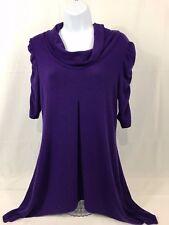 Dress Barn Size Medium Purple Cowl Neck Sweater 3/4 Sleeve