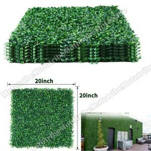 """12pcs 20x20"""" Artificial Boxwood Mat Wall Hedge Privacy Fence Green Decor Panel"""