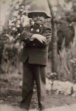 WW2  Photo WWII German Child in Helmet  World War Two Wehrmacht / 2427