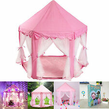 Pink Tent Princess House Castle Girls Playhouse Kids In/Outdoor Fairy Play Tent