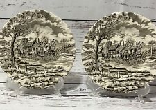 Vtg Royal Mail Fine Staffordshire Ironstone Horse Carriage Plate Lot Of 2 Used