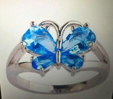 BUTTERFLY RING SWISS BLUE TOPAZ SILVER 4.95 T.C.W SIZES 7/8/9/10