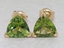 Peridot Ohrstecker 585 Gelbgold 14Kt Gold natürliche Kaschmir Peridots