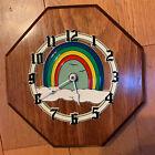 Vintage Ramar Rainbow Plastic Clock Mounted On Wood