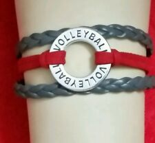 "SPORTS LEATHER VOLLEYBALL BRACELET -RED & GREY - HANDMADE -6 1/4""-8 1/4""- #308"