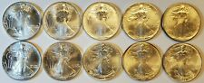 Lot of (10) BU Uncirculated 1995 American Silver Eagles Key Date Coins!
