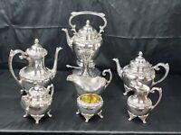 Antique English 7 Piece Rogers Bros Tea & coffee set 1847 Heritage Silverplate