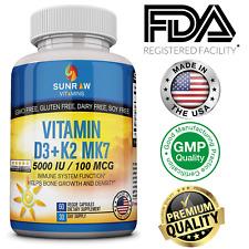 ☀ Vitamin D3 5000 IU with K2 (MK7) ☀  with BioPerine 60 days Supply Made in USA
