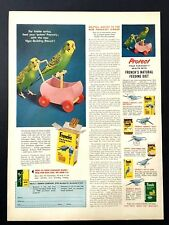 1956 French's Parakeet Seed Ad for livelier antics Parakeets pushing cart