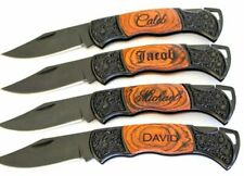 Pocket Knife W/ Rosewood Handle Personalized Engrave 2 Lines / 40 Characters