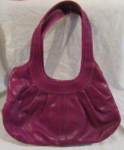 COACH Ergo Pleated Purple/Pink Leather Kisslock Hobo Handbag Gold Trim #12248