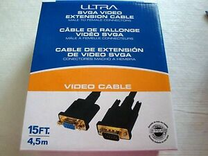 Ultra 15FT SVGA Video Extension Cable - 15FT, Male To Female NEW