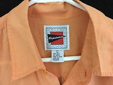 Silk Hawaiian Shirt Short Sleeve Peach Color 2 Pocket 1990s by Reputation Size L