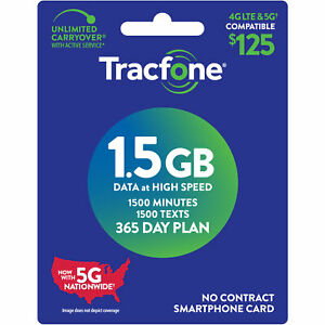 TracFone $125 1500 Min,1500 text, 1.5GB Data 365–Day Plan