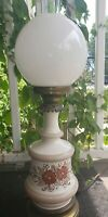 Vintage Floral Design GWTW Table Parlor Boudoir Lamp Milk Glass Shade & Chimney