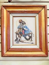 """Norman Rockwell Picture On Cultered Ivory Engraved """"Boy Girl Dog Gazing At Moon"""""""