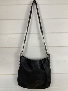 Coach Women's 1414 Auth Shoulder Bag Black Leather