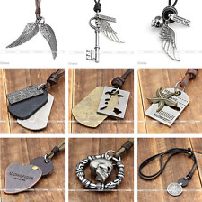 Vintage Unisex Mens Womens Genuine Leather Choker Necklace Charms Pendants Gift