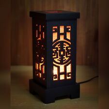 "Asian/Thai/Chinese Bamboo Wood Table Lamp: ""Shou"" Longevity Character +LED bulb"