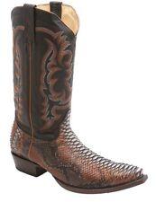 Los Altos Genuine Python Skin Unique Cognac Brown Snip Toe Western Boots