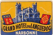 France Narbonne Grand Hotel Du Languedoc Vintage Luggage Label sk2122