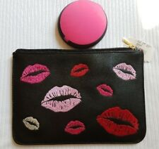 LIPS COSMETICS CASE TRAVEL POUCH:NWT(other) BLACK W/RED,PINK,WHITE LIPS & MIRROR