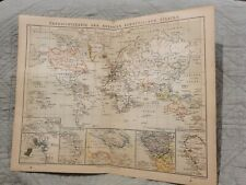 Map of Colonies of European States - Antique Book Page - c.1885 - German Text