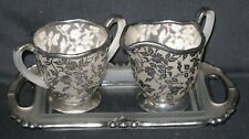 Vintage Frosted Glass Creamer Sugar Bowl & Tray Silver Overlay Flowers Floral