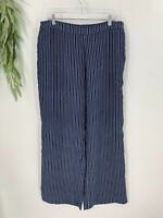 Chico's Womens Indigo Striped Palazzo Pants Size 2.5 14 Blue Wide Leg Pull On