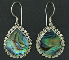 z Designer Bali Abalone Paua Shell Pear Drop Dangle Earrings in Steling Silver
