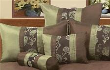 New PHASE 2 JEMMA OLIVE Green Chocolate Brown Flocked European Pillowcase x 1
