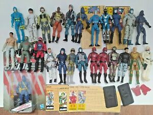 Gi Joe 25th Anniversary Lot. Cobra commander, figurines, stands, cards!