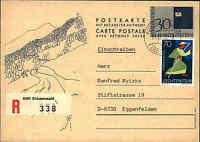 Liechtenstein 30/30 Doppelkarte Einschreiben Zusatz-Fr. ab SCHAANWALD R-Zettel