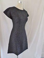 South Animal Jacquard A-line Dress in Black/Navy Size UK8 Little Black Dress