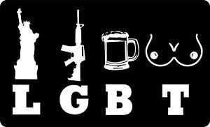 LGBT Liberty Guns Beer Tits AR Rifle NRA Funny Vinyl Bumper Sticker