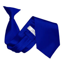 DQT Satin Plain Solid Royal Blue Waiter Security Funeral Clip On Tie