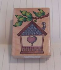 Country Birdhouse Rubber Stamp Hero Arts Wood Mounted 1996