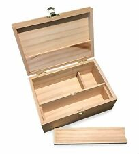 Medium Wooden Storage Box w/ Latching Lid, Rolling Jig & Adjustable Compartments