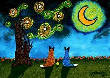 Australian Cattle Dog Blue Red Heeler Moon Folk Art PRINT Todd Young STARRY SKY
