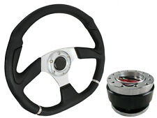 D1 SILVER D-SHAPED Steering Wheel + Quick Release boss for MAZDA