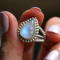 Pear Rainbow Moonstone Gemstone 925 Sterling Silver Designer Gift Ring Jewelry