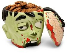 ZOMBIE Head Green COOKIE JAR Top Off Brains Halloween Limited Edition Scary Fun