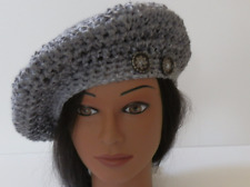 Crochet Tam Hat in Shade of Gray with FLOWER Buttons Light & Fluffy HANDMADE