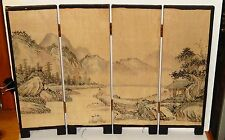 SMALL OLD CHINESE YANGTZE RIVER VILLAGE WATERCOLOR 4 PANEL SCREEN PAINTING