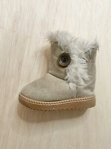 MIGO BABY Fur Line Bailey Button Boots Baby Girl Winter Snow Boots Size 7c