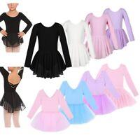 Girls Kids Ballet Gymnastic Leotard Dance Dress Long Sleeve Tutu Skirt Dancewear