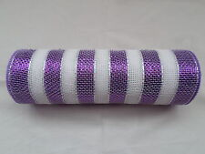 Purple and White Striped Deco Mesh 10 inches by 10 yards
